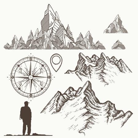 산 컬렉션, 나침반,지도 포인터, 관광. 등산, 모험, 캠핑의 상징. 야외, 관광, 캠핑, 암벽 등반 손으로 그려진 복고풍 스타일 세트