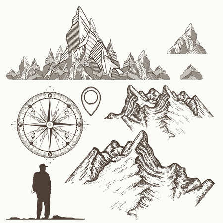 Bergencollectie, kompas, kaartwijzer, toerist. Symbolen van bergbeklimmen, avonturen, kamperen. Outdoor, toerisme, kamperen, klimmen stijl hand getrokken retro stijl Stock Illustratie