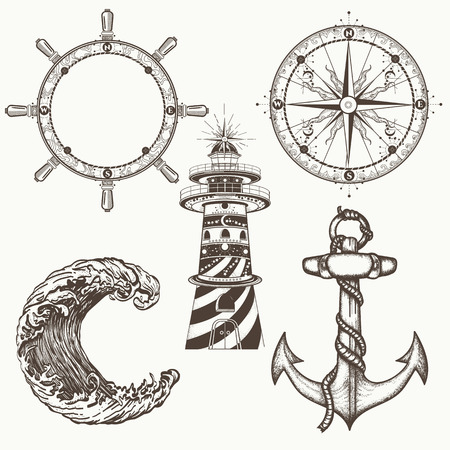 Sea collection vintage elements vector. Anchor, steering wheel, compass, lighthouse, sea wave. Symbols of sea adventure voyage, tourism, outdoor. Hand drawn retro sea set