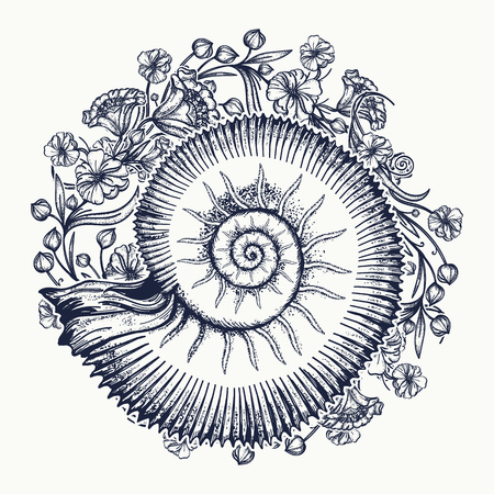 Ammonites and art nouveau flowers tattoo. Symbol of science, paleontology, history, biology, golden ratio. Ancient mollusk t-shirt design