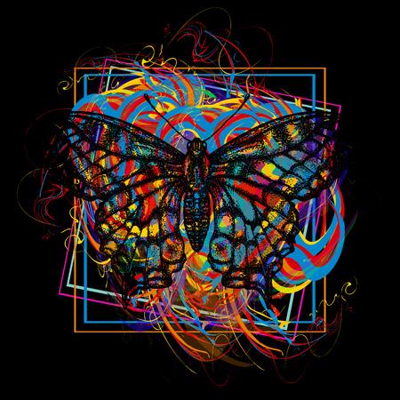 Color butterfly t-shirt design modern art element for design, poster, gift cards, flyers, brochures template.