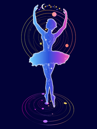 Mädchen tanzt im Raum T-Shirt Design moderne Kunst Grafiken. Symbol der Kunst, Poesie, Philosophie, Esoterik, Universum. Anmutige Mädchen tanzen im Weltraum Standard-Bild - 80498703