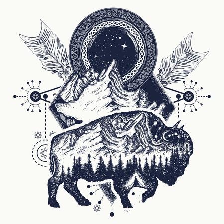 バイソンと山の t シャツ デザイン、タトゥー。バイソンは二重露出、山、交差矢印です。観光シンボル、冒険、大きな屋外。バッファローのシルエ