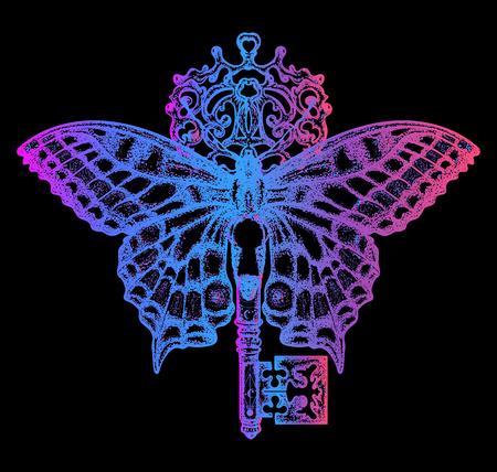 Mariposa de neón esotérica y arte dominante del tatuaje. Místico símbolo de libertad, búsqueda espiritual, vuelo, viajes. Estilo hermoso del boho del diseño de la camiseta de la mariposa Ilustración de vector