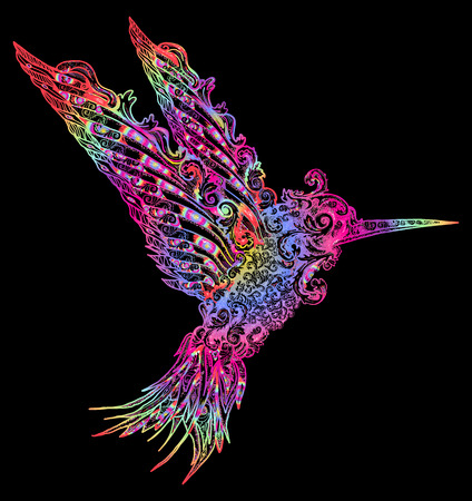 Color humming-bird t-shirt design. Symbol of freedom, dream, travel, imagination. Beautiful flying humming in ethnic style, bird modern art