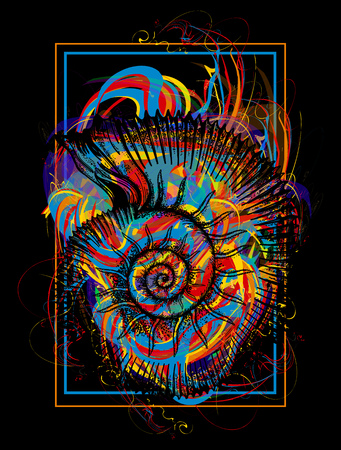 Color ammonite t-shirt design modern art element for design, poster, gift cards, flyers, brochures template. Creative art ammonite and color splashes symbol of science, imagination, education