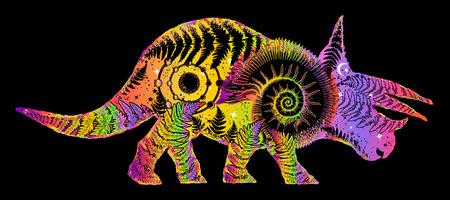 Dinosaur t-shirt design, Triceratops double exposure tattoo art. Triceratops modern art. Symbol of archeology, paleontology. Triceratops, fern, ammonite, ancient minerals tattoo