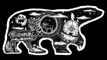 Symbol of Arctic, Antarctica, tourism, adventure, northern animals. Polar bear tattoo. Polar bear double exposure tattoo art and t-shirt design