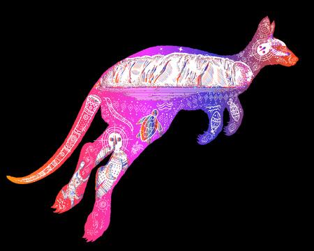 ファッション カンガルー二重露光タトゥー アート、オーストラリア、旅行と観光のシンボルの色します。カンガルー t シャツ デザイン モダンなア