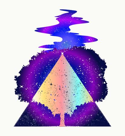 Magischer Baum des Lebens Tattoo Kunst, Symbol für Leben und Tod. Sternfluss Mystisches Zeichen der Unsterblichkeit der menschlichen Seele Magic Tree Tattoo und T-Shirt Design. Symbole der Psychologie, Symmetrie, Philosophie Standard-Bild - 80498713