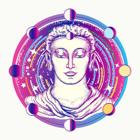 부처님 문신 예술. 공간 하나님 부처님 깊은 공간 t- 셔츠 디자인. 영혼의 신성한 기호 중생, 불교 문신. 불멸, 계몽, 종교, 마술의 상징 일러스트