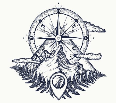 Mountains and compass tattoo. Symbol of tourism, rock climbing, camping. Mountain top and vintage compass tattoo and t-shirt design