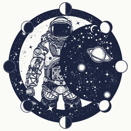 Astronaut in der Weltraumtätowierung, Kosmonaut im Universalt-shirt Design, Raumfahrertätowierungskunst. Symbol der Wissenschaft, Astronomie, Bildung