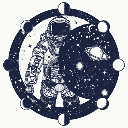 Astronaut in space tattoo, Cosmonaut in universe t-shirt design, Spaceman tattoo art. Symbol of science, astronomy, education