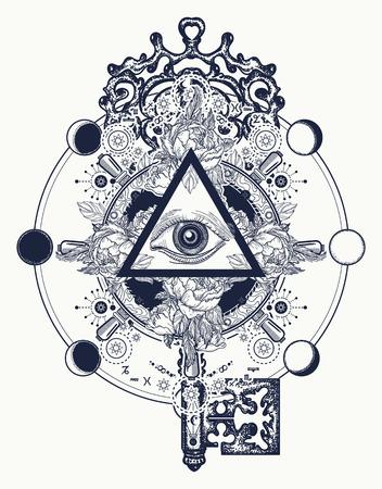 Símbolos masónicos del ojo y de la llave del tatuaje. Freemason y símbolos espirituales. Alquimia, religión medieval, ocultismo, espiritualidad y tatuaje esotérico. Ojo mágico, rosas y diseño de la camiseta del volante