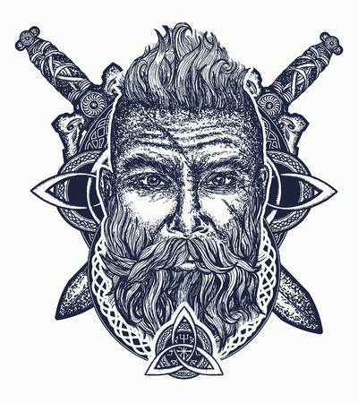 Viking tattoo, bearded barbarian of Scandinavia, crossed swords, god Odin, Symbol of force, courage; Scandinavian mythology, viking art print t-shirt design