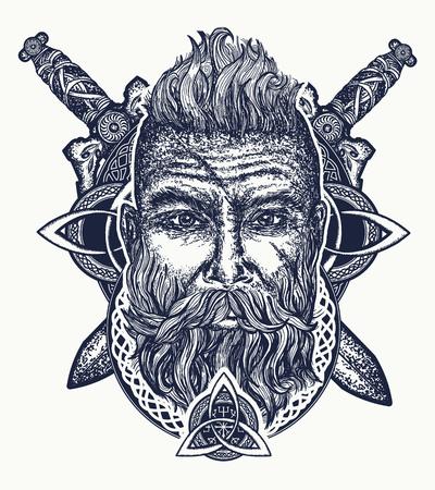 Viking-tatoeage, gebaarde barbaar van Scandinavië, gekruiste zwaarden, god Odin, symbool van kracht, moed; Scandinavische mythologie, vikingart print t-shirt design Stockfoto - 80943377