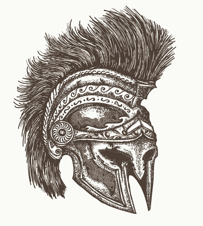 Ancient Spartan helmet hand drawn, Ancient greek war helmet