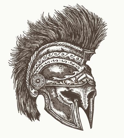Oude Spartaanse helm hand getekende, Oude Griekse oorlogshelm Stock Illustratie