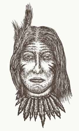 아메리카 원주민 늙은이 벡터, 북아메리카 인도 손으로 그린 초상화