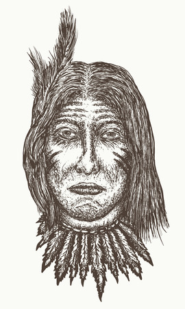 Native american old man vector, North American Indian hand drawn portrait