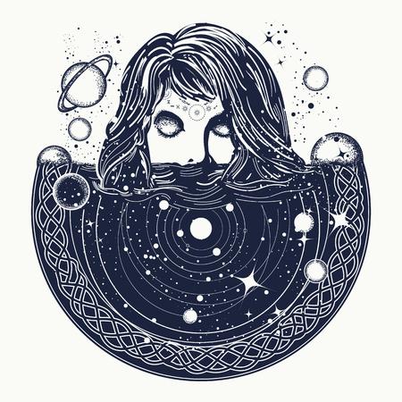 우주 문신 예술, 초현실적 인 여자가 우주에 싱크대, 마술, esoterics, 점성술, 여자 및 공간, goodnes 여자와 은하 t- 셔츠 디자인의 상징에 여자