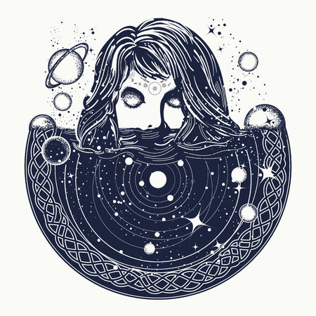 Woman in space tattoo art, Surreal girl sinks in universe, Symbol of magic, esoterics, astrology, Girl and space, goodnes woman and galaxy t-shirt design Vectores