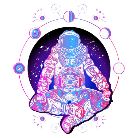 Astronaut in the lotus position color tattoo art. Spaceman silhouette sitting in lotus pose of yoga tattoo. Symbol of meditation, harmony, yoga. Astronaut and Universe t-shirt design