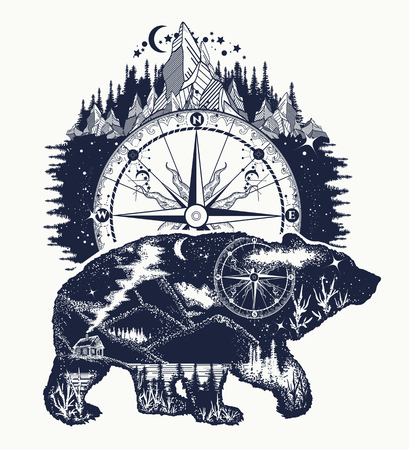 Ours double exposition, boussole, art de tatouage de montagnes. Ours t-shirt silhouette grizzly. Symbole du tourisme, aventure, grand plein air