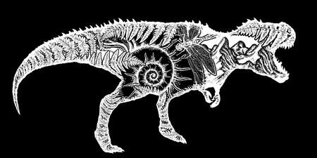 T-Rex dinosaur monster t-shirt design.Symbol of archeology, paleontology. Tyrannosaur, fern, ammonite, dragonfly, ancient minerals. Tyrannosaur double exposure tattoo art Illustration