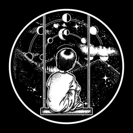 Niño en un columpio en las montañas, el arte del tatuaje soñador. Niño mira a las estrellas. Diseño de camiseta soñando genio. Símbolo de poesía, psicología, filosofía, astronomía, ciencia. Fases lunares y universo Ilustración de vector