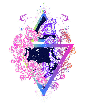 Flowers art nouveau in a triangle tattoo art. Graceful flowers in mystical triangle t-shirt design. Symbol of art, freedom, astronomy, mysterious knowledge tattoo