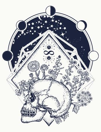 Crâne humain à travers lequel les fleurs, l'art du tatouage. Psychologie, philosophie, conception de t-shirt de poésie Symbole de la vie et de la mort, signe de l'infini et de l'immortalité. Concept d'art de l'âme humaine Banque d'images - 82233358