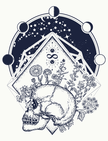 Human skull through which flowers, tattoo art. Psychology, philosophy, poetry t-shirt design Symbol of life and death, sign of infinity and immortality. Art concept of human soul Иллюстрация