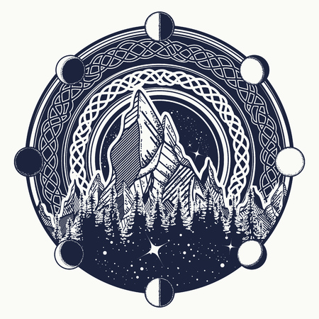 Mountains in the circle tattoo, celtic style. Great outdoors. Symbol of adventure tourism, meditation, camping. Nature Mountain landscape tattoo and t-shirt design tribal vector illustration 일러스트