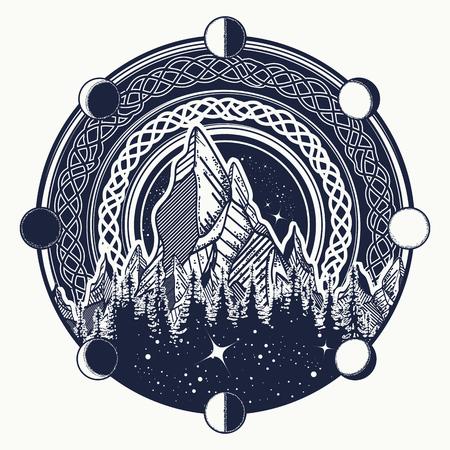 Montagnes dans le tatouage cercle, style celtique. Grands espaces. Symbole du tourisme d'aventure, de la méditation, du camping. Nature Tatouage et conception de t-shirt de paysage de montagne Illustration vectorielle tribale Banque d'images - 82233359