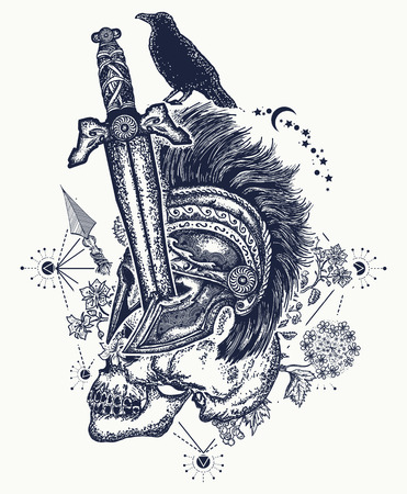Soldiers skull tattoo. Ancient soldier is killed with sword, medieval sword has pierced spartan's warrior. Gothic tattoo, symbol of life and death, good and evil, light and gloom t-shirt gothic design
