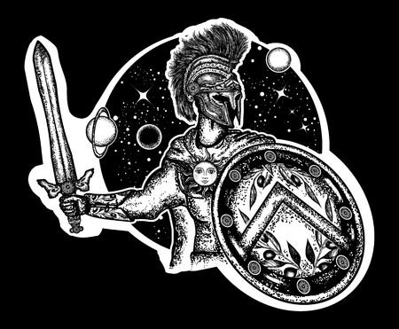Spartan warrior holding sword and shield tattoo art. Spartan warrior t-shirt design. Legionary of ancient Rome and ancient Greece. Symbol of bravery, force, army, hero