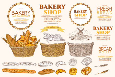 ベーカリー ビンテージ コレクションです。ベーキングのコレクション バゲット パンやロール コレクションの手描きの背景