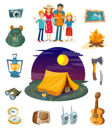 Camping collection. Camping family hiking and outdoor recreation vector. Tourism elements Çizim