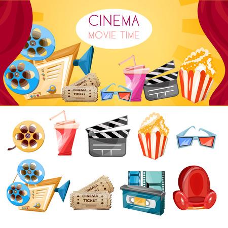 Cinema collection. Cinema movie elements cartoon cinema hand drawn icon collection cinema and movie set vector