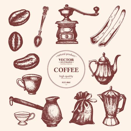 커피 빈티지 컬렉션입니다. 커피 손으로 그려진 된 요소입니다. 배경 레스토랑이나 카페 메뉴 빈티지 커피와 과자 그림