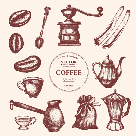 Coffee vintage collection. Coffee hand drawn elements. Background restaurant or cafe menu Vintage coffee and pastry illustration Illustration