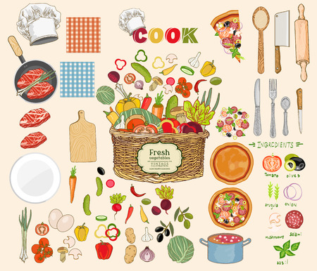 Food collection. Food ingredients collection fresh vegetables cooking utensils