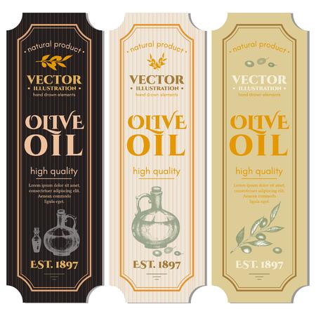 Olive oil banner. Labels for olive oils retro vintage vector Illustration