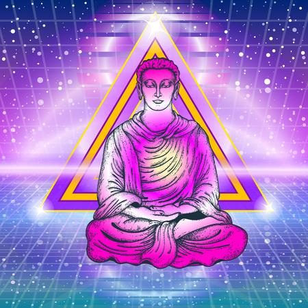 Buddhism art, t-shirt design. Buddha in a lotus pose. Meditation symbol, yoga, spirituality, religious. Buddha, rays of light Çizim