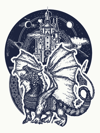 Dragon and castle tattoo art. Symbol force, fantasy, fairy tale. Strong dragon with celtic ornament and ancient castle  t-shirt design Иллюстрация