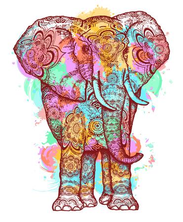 Farbelefant-T-Shirt entwerfen modernes Kunstelement für Design, Plakat, Geschenkkarten. Kreative Kunst Elefant und Farbe spritzt Symbol Meditation, wilde Natur, holi Festival T-Shirt drucken Standard-Bild - 83107389