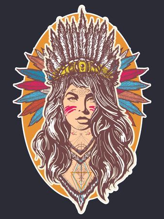 Inheemse Amerikaanse vrouwen tattoo kunst en t-shirt ontwerp. Etnische meisje strijder. Jonge vrouw in kostuum van Amerikaanse Indiase poster