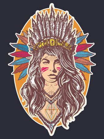 Native American woman tattoo art and t-shirt design. Ethnic girl warrior. Young woman in costume of american indian poster